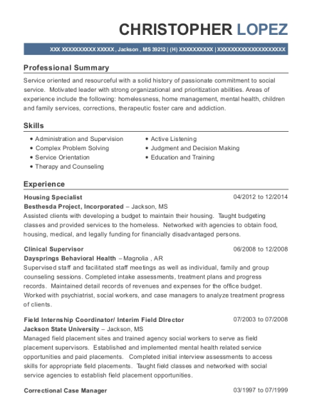 View Resume. Housing Specialist