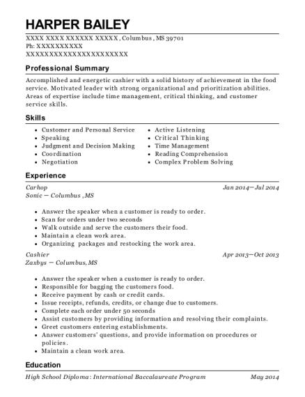 sonic carhop resume sample