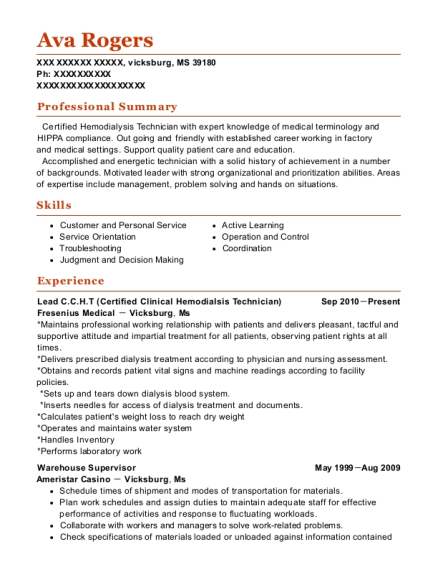 fresenius medical care ccht resume sample