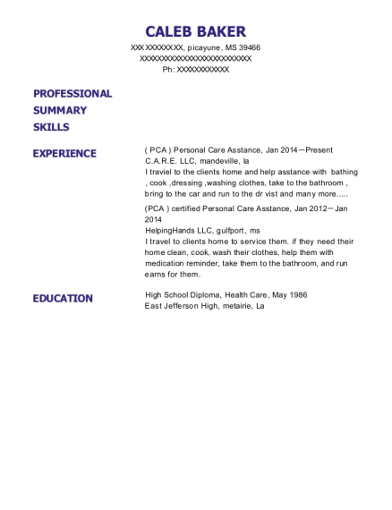 C A R E Llc Pca Personal Care Asstance Resume Sample Picayune