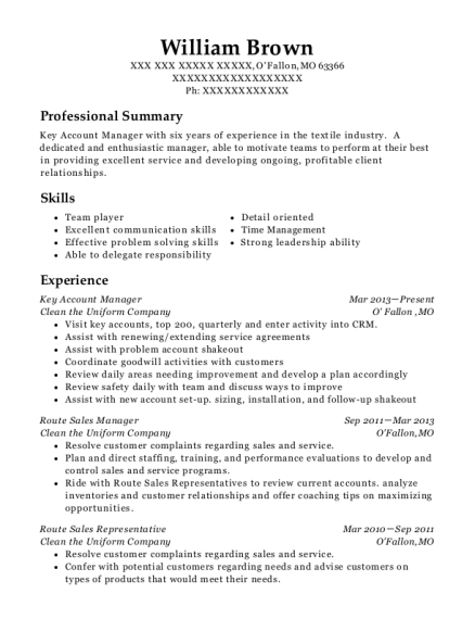 William Brown  Key Account Manager Resume