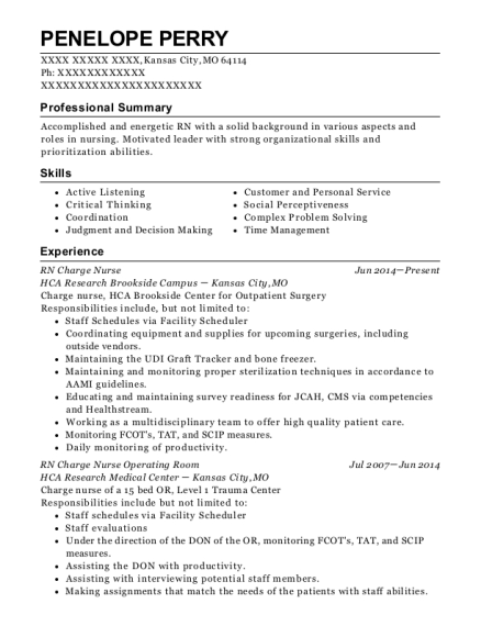 view resume rn charge nurse