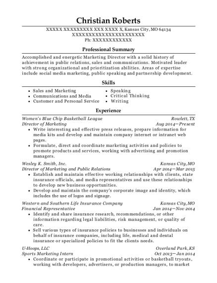 marketing intern resume