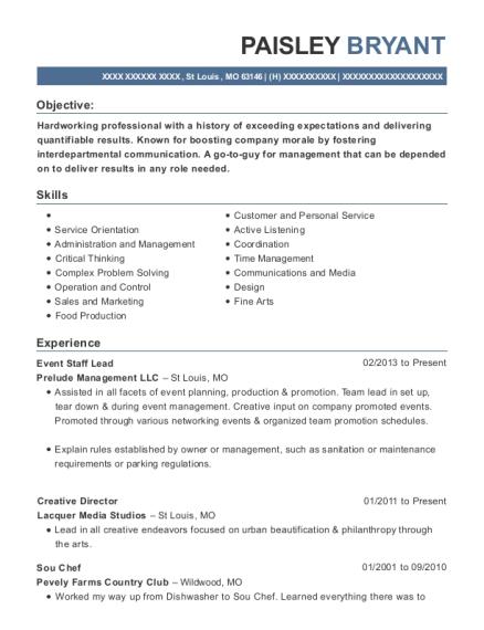 prelude management llc event staff lead resume sample st louis