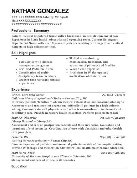 best pediatric rn resumes resumehelp