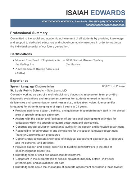 St Louis Public Schools Speech Language Diagnostician Resume Sample ...