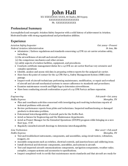 Federal Aviation Administration Aviation Safety Inspector Resume ...