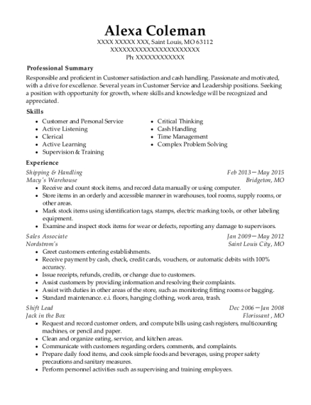 view resume - Cash Handling Resume
