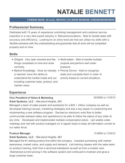 natalie bennett - Vice President Marketing Resume