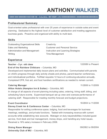 view resume - Catering Manager Resume