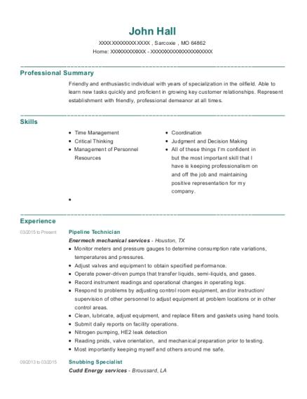 Best Pipeline Technician Resumes | ResumeHelp