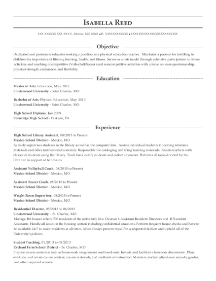 View Resume High School Library Assistant