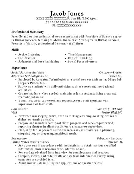Jacob Jones. Companies Worked For: Adventus Technologies, Inc. , VNA.  JobTitles Held: Social Services Assistant , Homemaker. Customize Resume