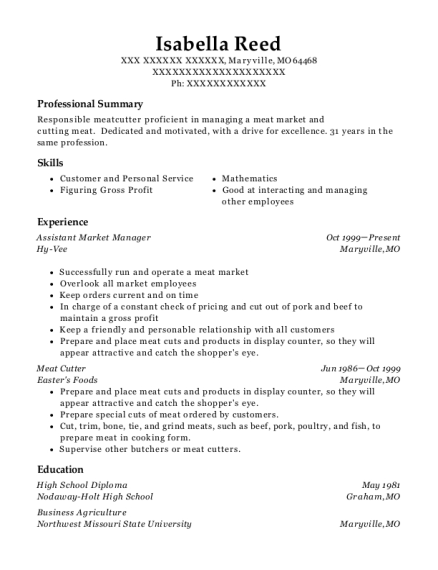 Awesome Butcher Manager Resume Mold - Best Resume Examples by ...