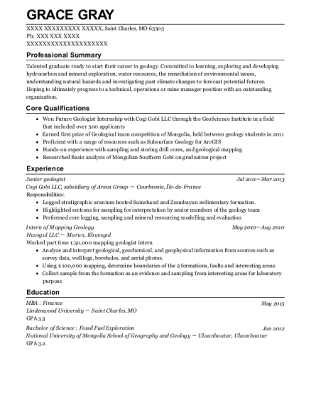 geologist resume samples visualcv resume samples database - Geologist Resume Template
