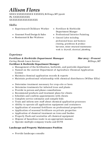 View Resume. Fertilizer U0026 Herbicide Department Manager