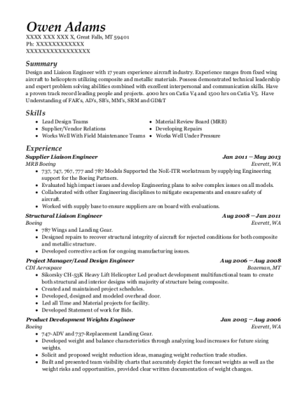 mrb boeing supplier liaison engineer resume sample great falls