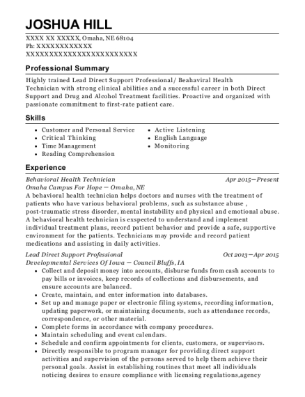 lead direct support professional cpht customize resume view resume