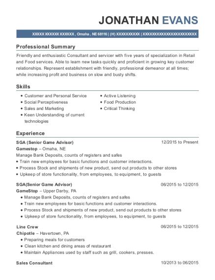 gamestop sga resume sample omaha nebraska resumehelp