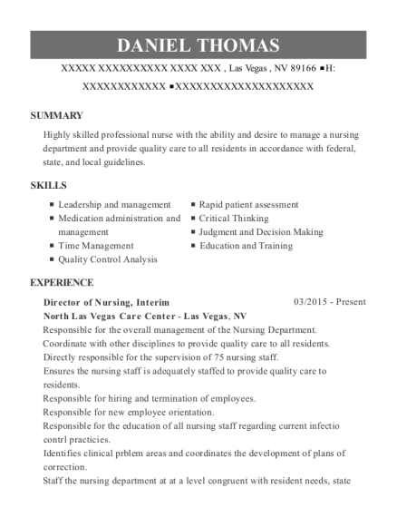 copper ridge care center director of nurses resume sample