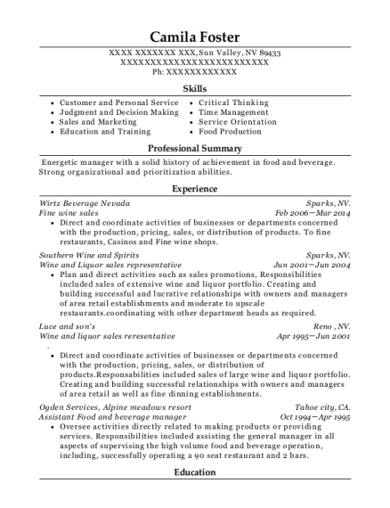 food and beverage manager resume