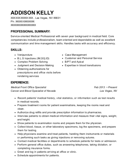 View Resume. Medical Front Office Specialist