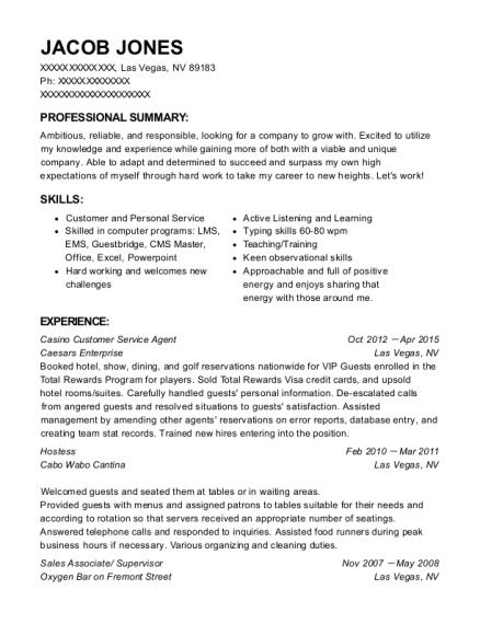 caesars enterprise casino customer service agent resume sample