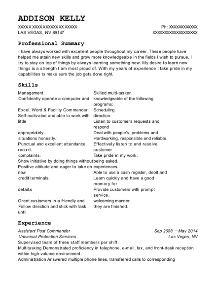 universal protection services assistant post commander resume sample
