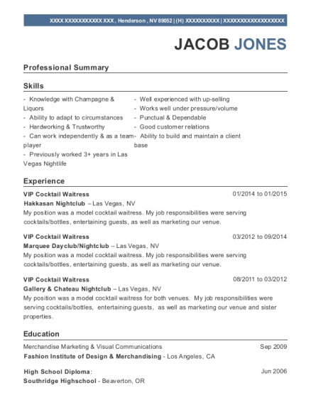 best vip cocktail waitress resumes resumehelp