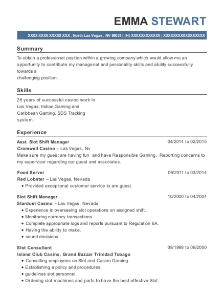 View Resume. Asst Slot Shift Manager