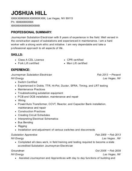 Nv Energy Journeyman Substation Electrician Resume Sample - Las ...