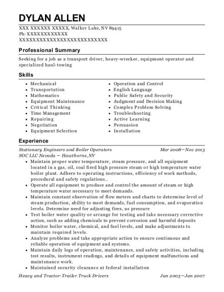 View Resume. Stationary Engineers And Boiler Operators