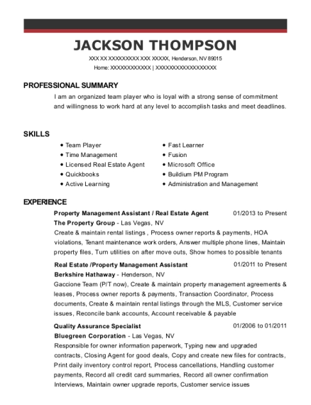 view resume property management assistant real estate agent