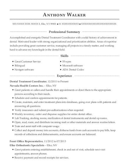View Resume. Dental Treatment Coordinator
