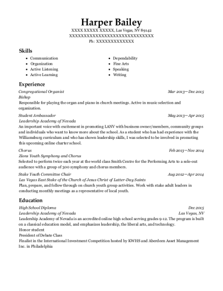 Bishop Congregational Organist Resume Sample - Las Vegas Nevada ...