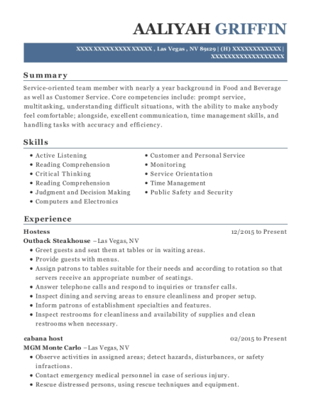 aaliyah griffin - Host Resume