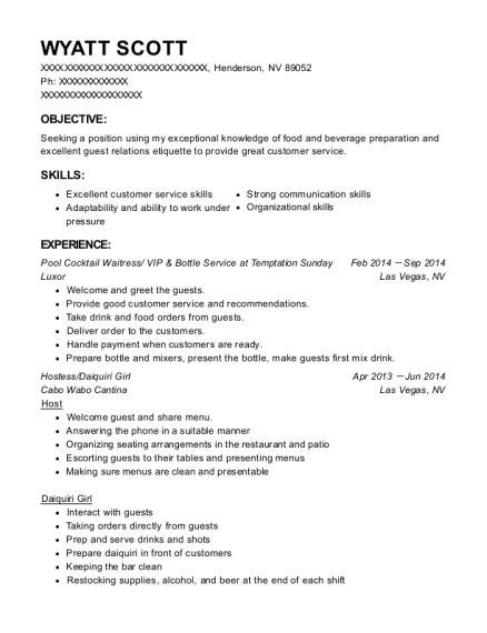 People Also Search For. Customize Resume  Bottle Service Resume