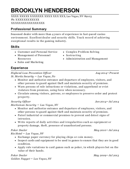 View Resume. Highend Loss Prevention Officer