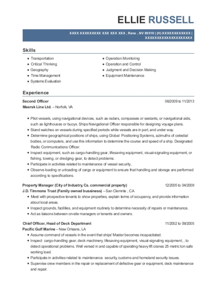 Second Officer , Property Manager. Customize Resume · View Resume