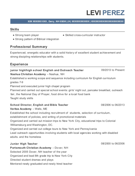 Exceptional View Resume. Junior High/high School English And Outreach Teacher