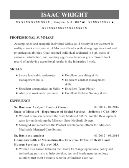 isaac wright - Product Owner Resume
