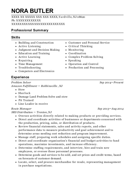 amazon fulfillment problem solver resume sample yardville new