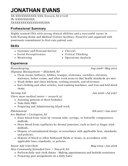 Unit Clerk , Certified Nursing Assistant. Customize Resume · View Resume