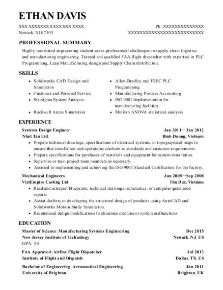 Nhat Tan Ltd Systems Design Engineer Resume Sample - Newark New ...