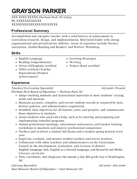 Resume Samples Specialist Resumes Reading Specialist | Best Curriculum Specialist Resumes Resumehelp