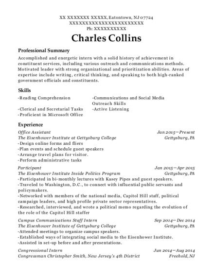 best congressional intern resumes resumehelp