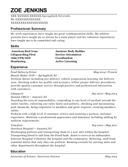 View Resume. Food Delivery Driver