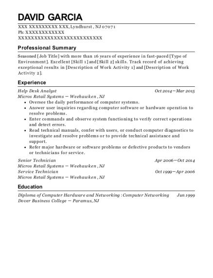 david garcia - Help Desk Analyst Resume