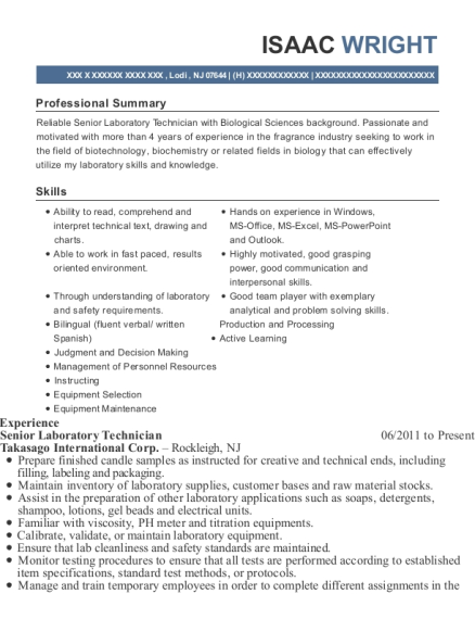 View Resume. Senior Laboratory Technician