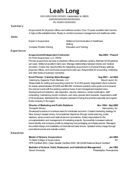 acupuncture and chinese medicine center acupuncturist resume sample